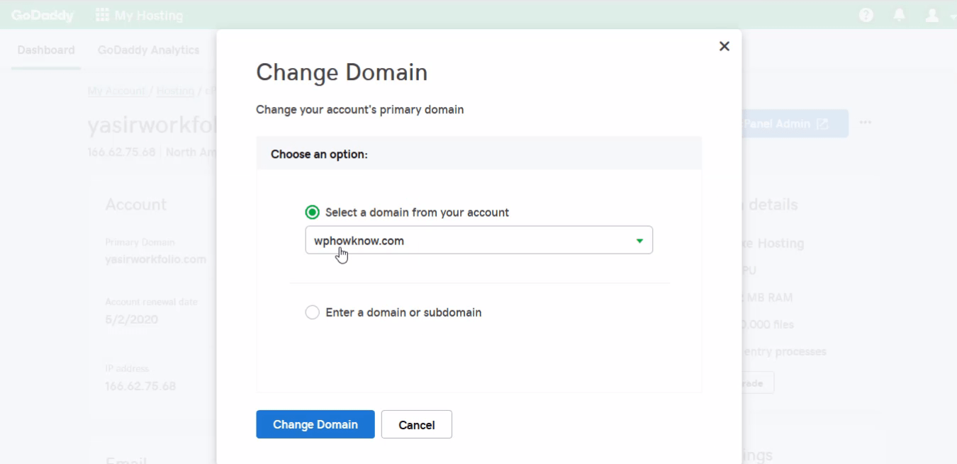How to change primary domain step 5