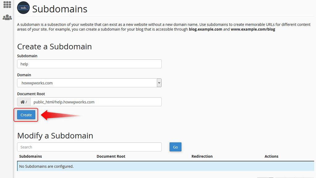 Click on 'Create' button