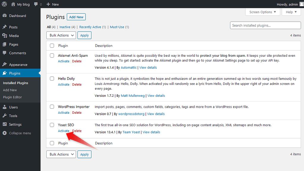Activating installed WordPress plugin