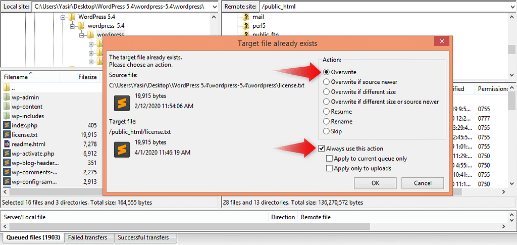Selecting Overwrite Option