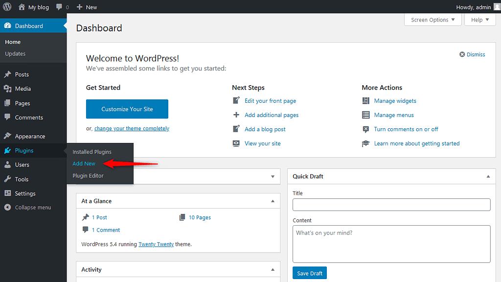 'Add New' plugin option in WordPress Dashboard Area
