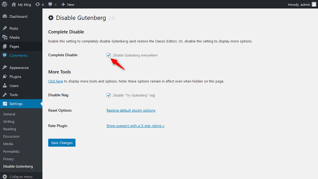 'Disable Gutenberg' plugin advanced option 'Disable Gutenberg everywhere'