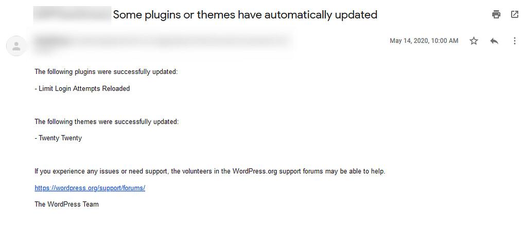 WordPress Auto Update Summary Email
