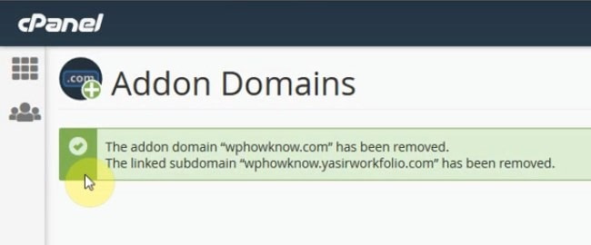 Domain has been removed as addon domain