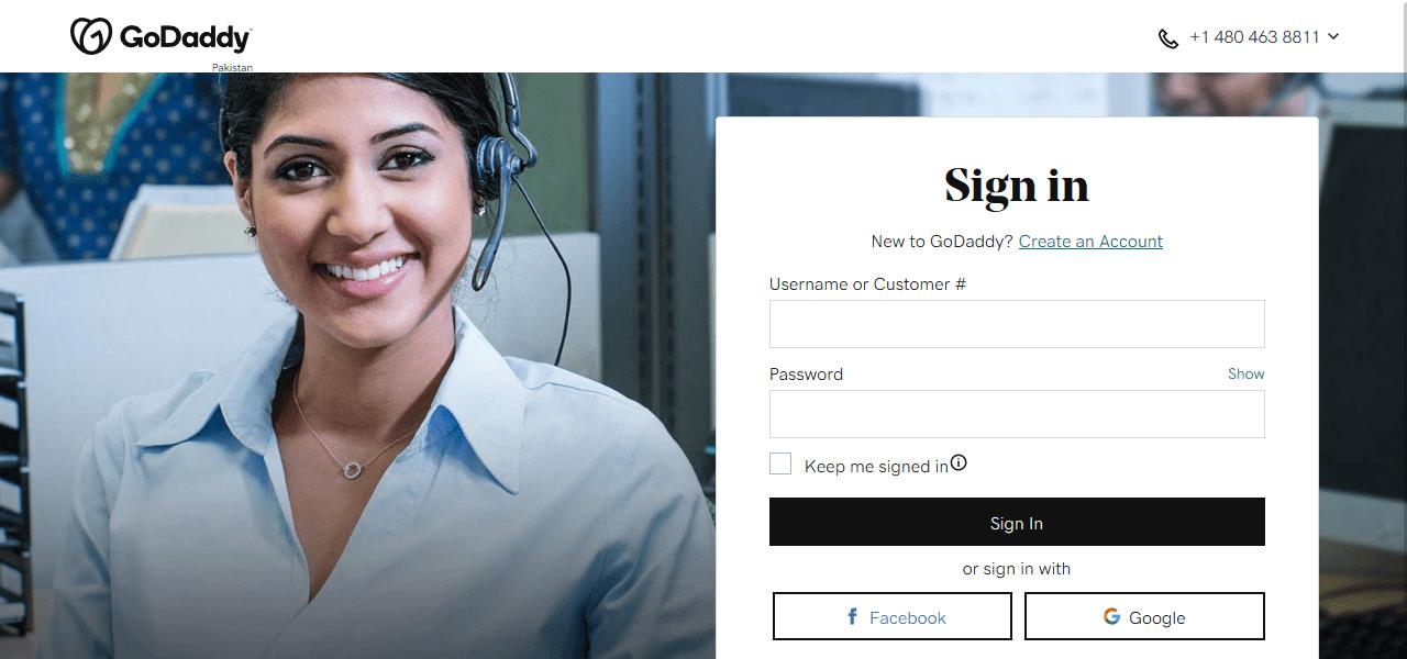 GoDaddy login page