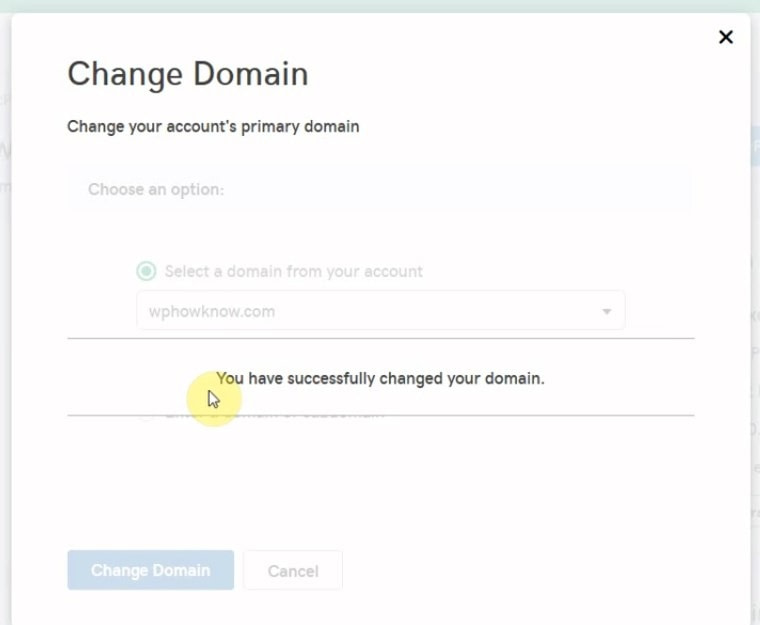 Primary domain successfully changed