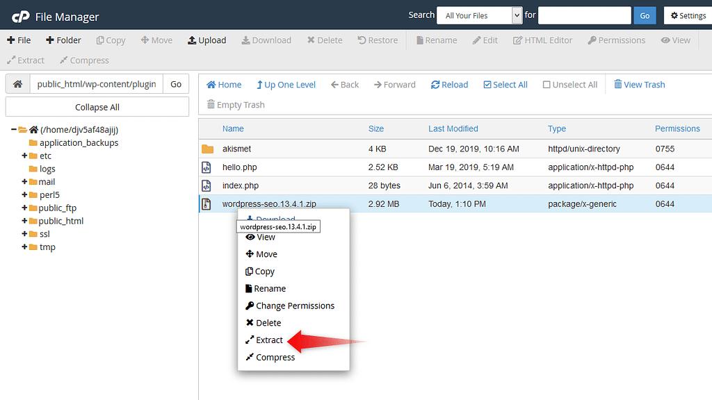 Extracting plugin's zip file