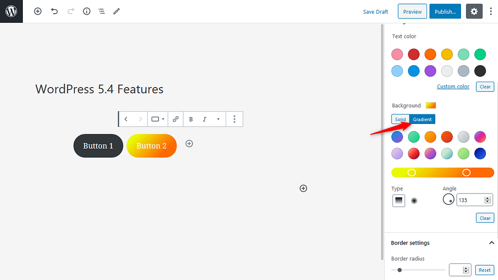 Color Gradient Option for Button in WordPress 5.4