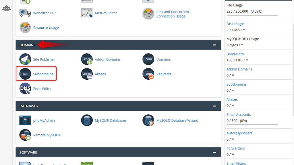 Find subdomains link in cPanel