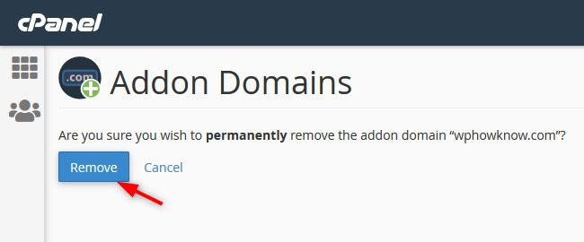 Remove domain as addon domain confirmation