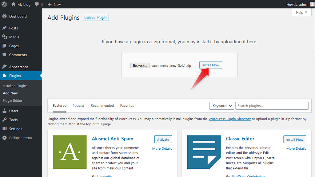 'Install Now' button after uploading plugin's zip file