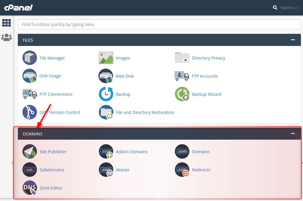 """DOMAINS"" section in cPanel"
