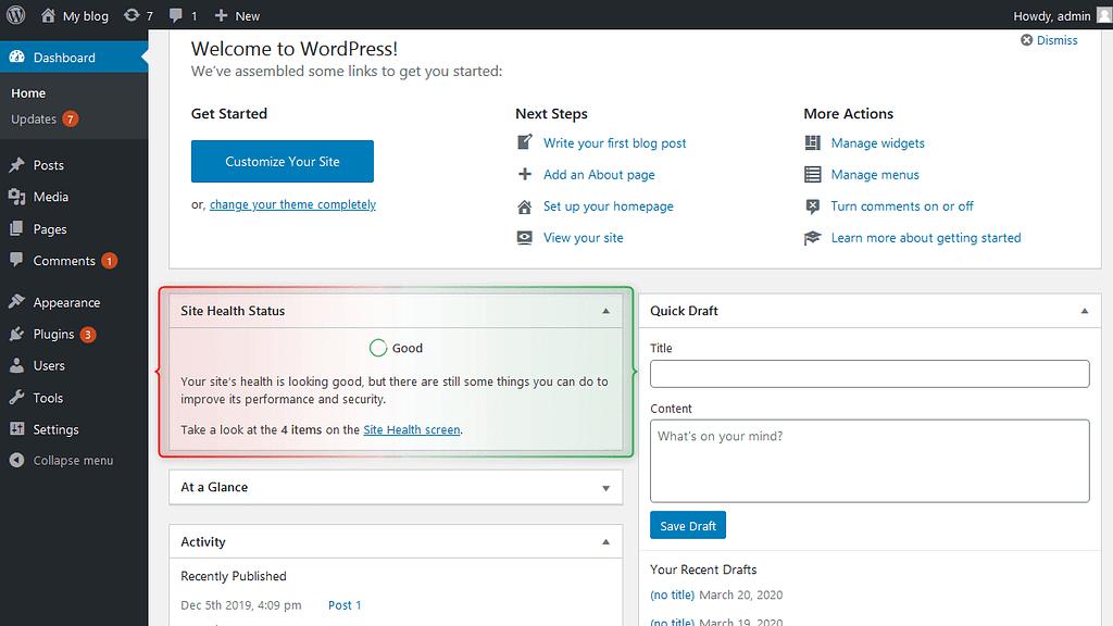 Site Health Widget In WordPress 5.4 update