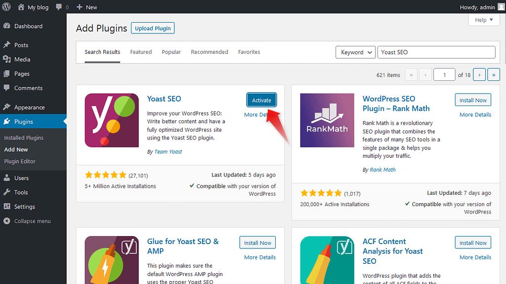 Activating a WordPress plugin