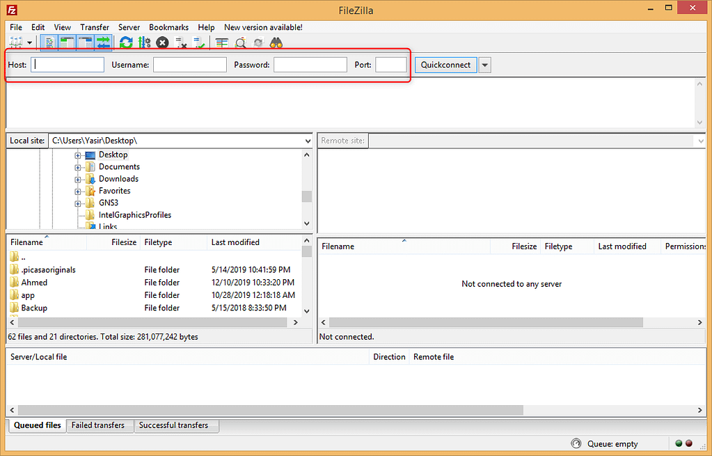 Connecting to server using FileZilla