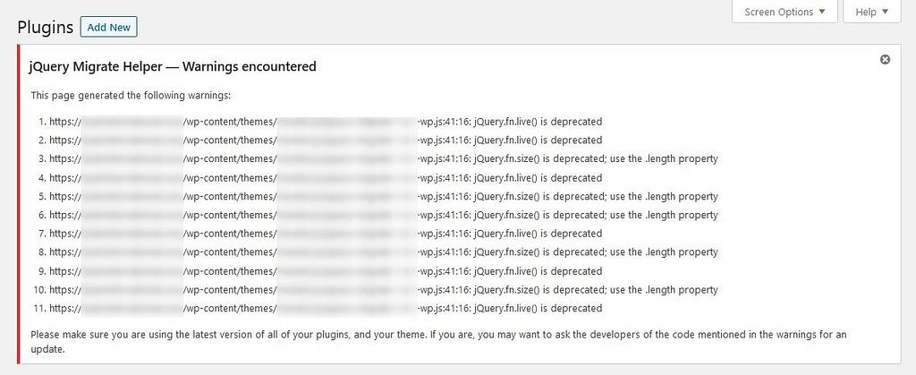 Identify jQuery depreciated functions via Enable jQuery Migrate Helper Plugin
